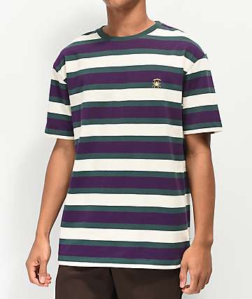 Deathworld Tokyo Green, Purple & White Striped Knit T-Shirt
