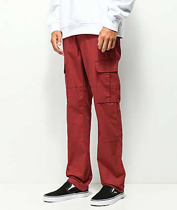 Deathworld cargo pantalones de color borgoño