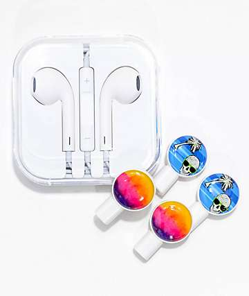 Deka Slides Watercolor Sunset Skull Earbuds & Slide-On Graphics