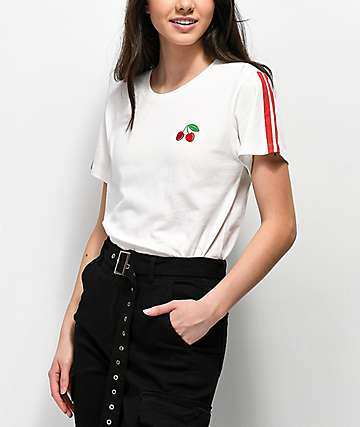 Desert Dreamer Cherry Stripe White T-Shirt