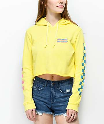 Desert Dreamer Deep Doubts Yellow Crop Hoodie
