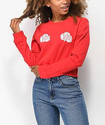 Desert Dreamer Double Rose Red Crop Sweater