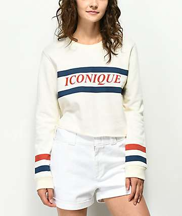 Desert Dreamer Iconique White Crop Crew Neck Sweatshirt