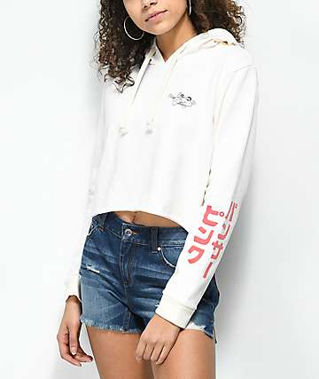 Desert Dreamer Pocket Panther White Crop Hoodie