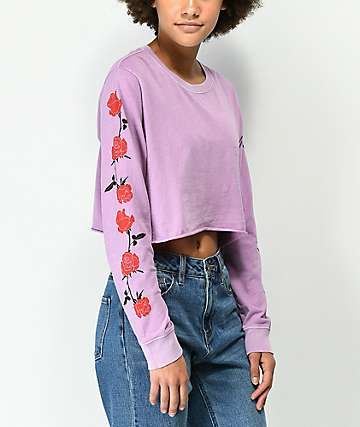 Desert Dreamer Roses Lavender Long Sleeve Crop T-Shirt