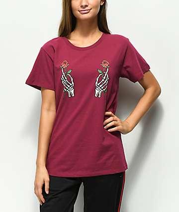 Desert Dreamer Skeleton Roses Maroon T-Shirt