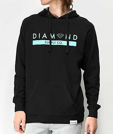 Diamond Stone Cut Black & Blue Hoodie