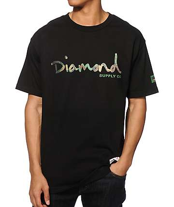 Diamond Supply Co Camo OG Script camiseta