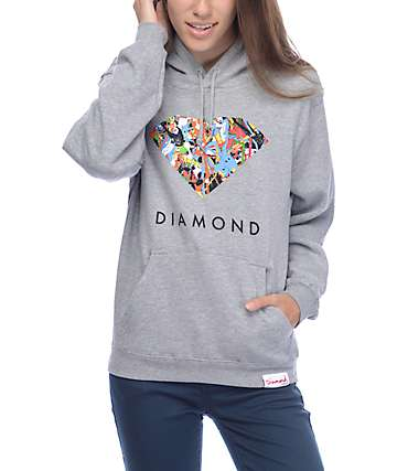 Diamond Supply Co Painted Diamond Heather Grey Hoodie