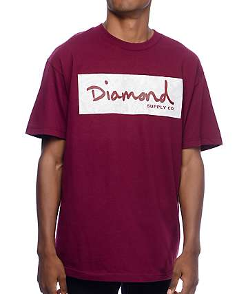 Diamond Supply Co Radiant Box Logo camiseta en color borgoño