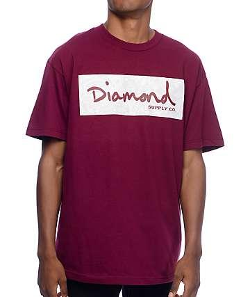 Diamond Supply Co Radiant Box Logo camiseta en color borgoño