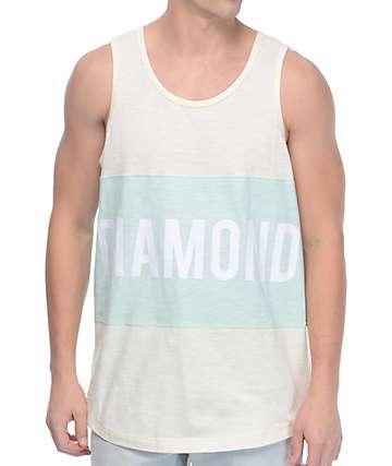 Diamond Supply Co Speedway camiseta sin mangas en colores crema y menta