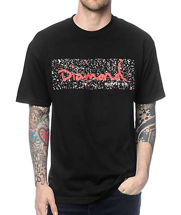 Diamond Supply Co Splatter Box Logo Black & Red T-Shirt