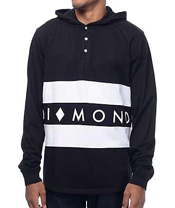 Diamond Supply Co Winston camiseta negra de manga larga con capucha