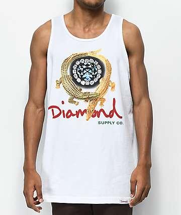 Diamond Supply Co. Alligator White Tank Top