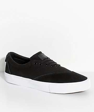 Diamond Supply Co. Avenue Black, White, Suede & Canvas Skate Shoes
