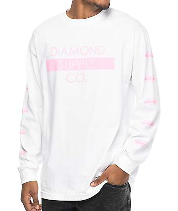 Diamond Supply Co. Bar Logo White Long Sleeve T-Shirt