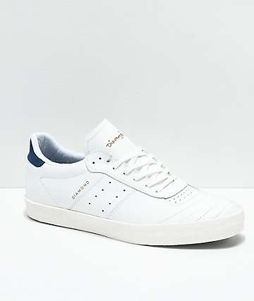 Diamond Supply Co. Barca zapatos de skate de cuero blanco
