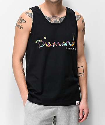 Diamond Supply Co. Bolts Script Black Tank Top