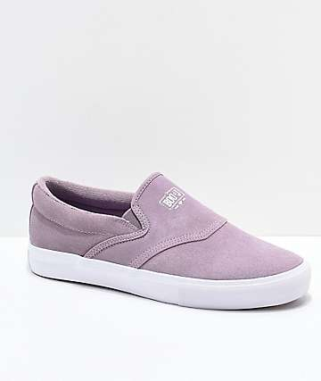 Diamond Supply Co. Boo-J Lavender & White Slip-On Skate Shoes