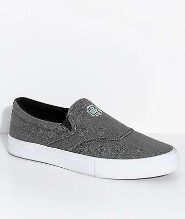 Diamond Supply Co. Boo-J Lite Washed Black & White Slip-On Skate Shoes