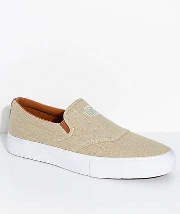 Diamond Supply Co. Boo-J Lite Washed Tan & White Slip-On Skate Shoes