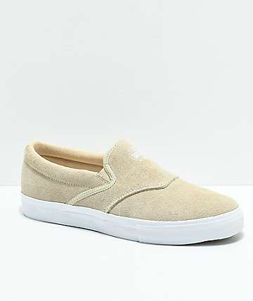 Diamond Supply Co. Boo-J Tan & White Suede Slip-On Skate Shoes