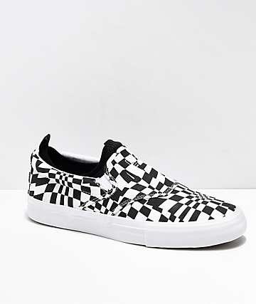 Diamond Supply Co. Boo-J XL Black & White Slip-On Skate Shoes