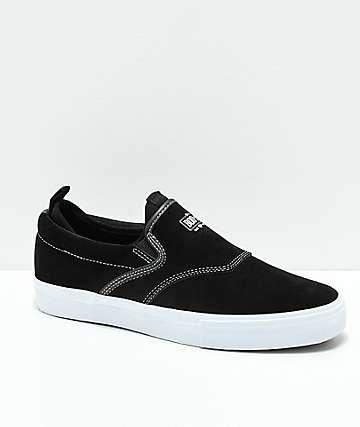 Diamond Supply Co. Boo-J XL Black & White Suede Slip-On Skate Shoes