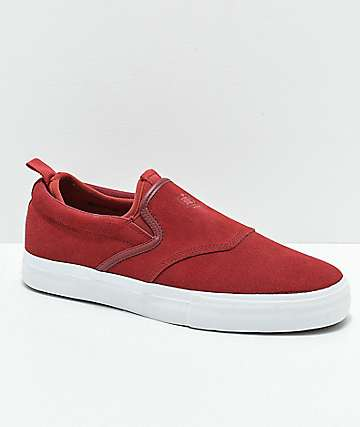 Diamond Supply Co. Boo-J XL Burgundy & White Suede Slip-On Skate Shoes