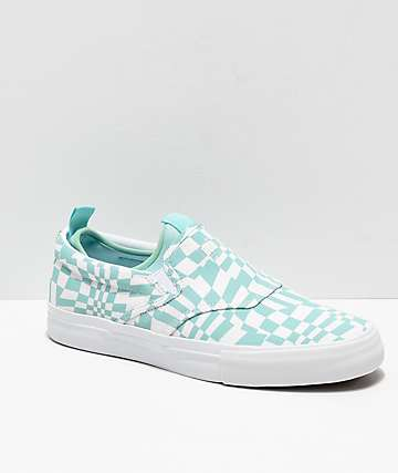 Diamond Supply Co. Boo J XL Mint Blue & White Checkered Skate Shoes