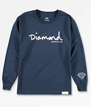 Diamond Supply Co. Boys OG Brilliant Navy Long Sleeve T-Shirt