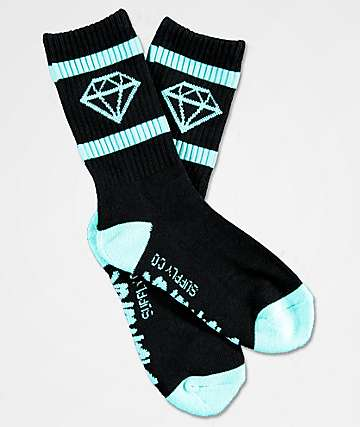 Diamond Supply Co. Boys Rock Sport Black & Blue Crew Socks