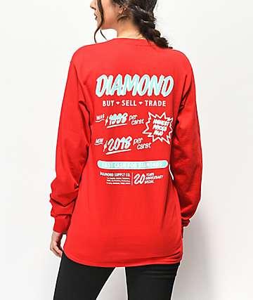 Diamond Supply Co. Cash For Diamonds camiseta roja de manga larga