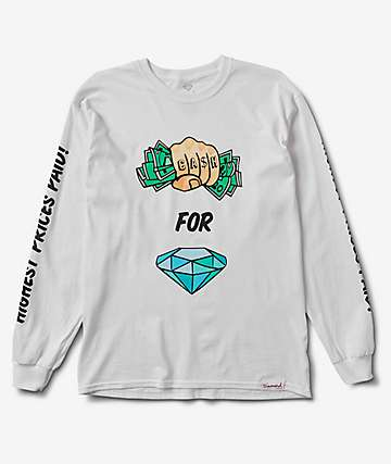 Diamond Supply Co. Cash In Hand White Long Sleeve T-Shirt