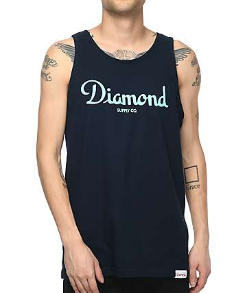 Diamond Supply Co. Champagne Sign Navy Tank Top