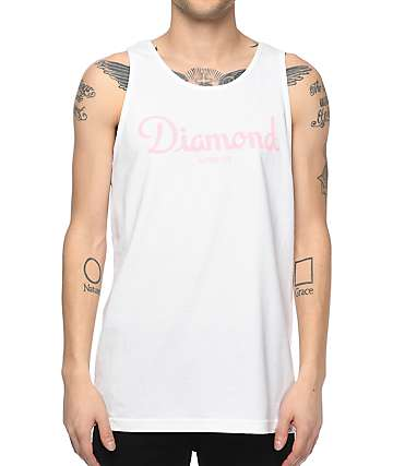Diamond Supply Co. Champagne Sign White Tank Top