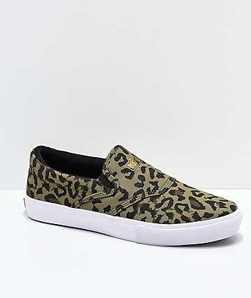 Diamond Supply Co. Cheetah & White Slip-on Skate Shoes