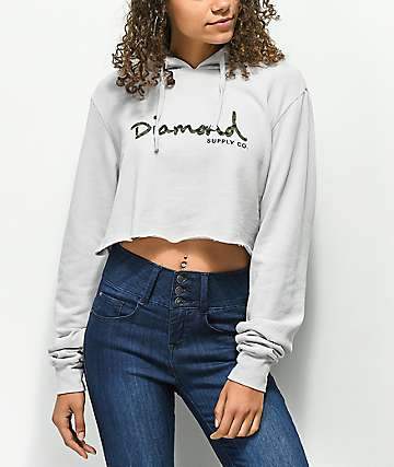 Diamond Supply Co. Cheetah Grey Crop Hoodie