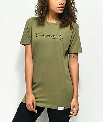Diamond Supply Co. Cheetah OG Script Olive T-Shirt