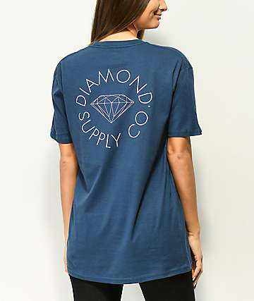 Diamond Supply Co. Circle Logo camiseta con lavado azul marino