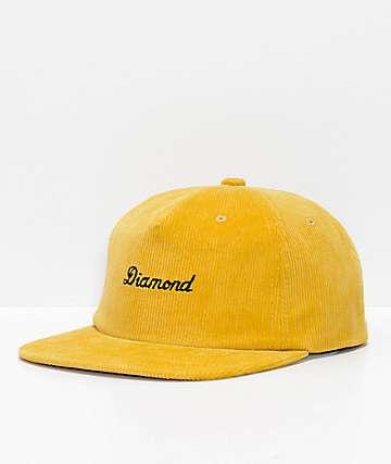 Diamond Supply Co. City Script Gold Corduroy Snapback Hat