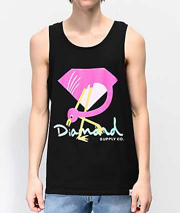 Diamond Supply Co. Flamingo Black Tank Top