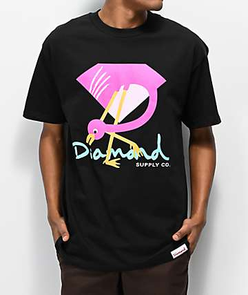 Diamond Supply Co. Flamingo Sign Black T-Shirt