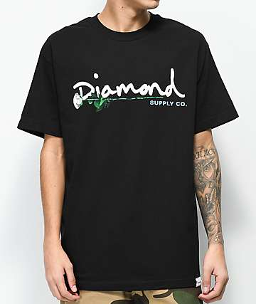 Diamond Supply Co. Floral Gem Script Black T-Shirt