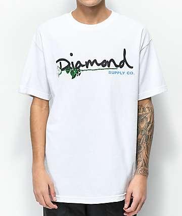 Diamond Supply Co. Floral Gem Script camiseta blanca