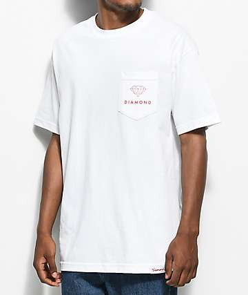 Diamond Supply Co. Futura Sign camiseta blanca con bolsillo