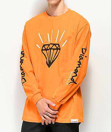 Diamond Supply Co. Gem Orange Long Sleeve T-Shirt