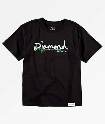 Diamond Supply Co. Gem Script camiseta negra para niños
