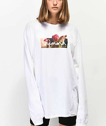 Diamond Supply Co. Gift OG Box Logo White Long Sleeve T-Shirt